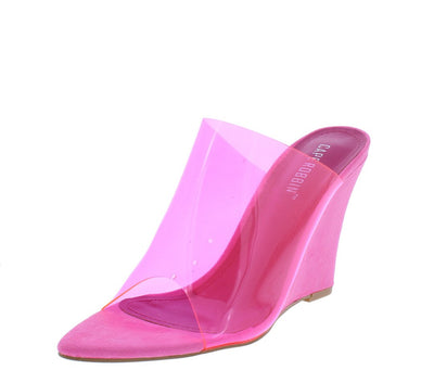Daring Pink Open Toe Lucite Mule Slide Wedge - Wholesale Fashion Shoes