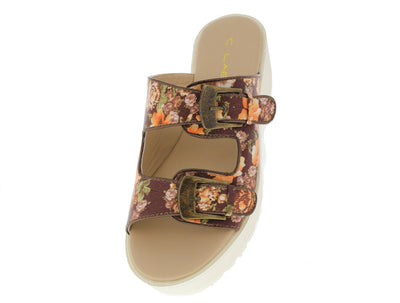 Darla9a Brown Floral Lug Sandal - Wholesale Fashion Shoes