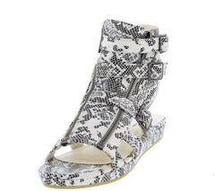 JAXON8 WHITE SNAKE SKIN GLADIATOR BUCKLE SANDAL - Wholesale Fashion Shoes