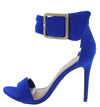 Dashing21 Electric Blue Open Toe Ankle Buckle Band Stiletto Heel - Wholesale Fashion Shoes