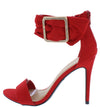 Dashing21 Red Open Toe Ankle Buckle Band Stiletto Heel - Wholesale Fashion Shoes