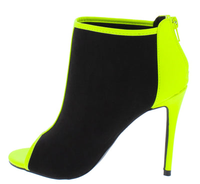 Dashing30 Black Peep Toe Stiletto Ankle Boot - Wholesale Fashion Shoes