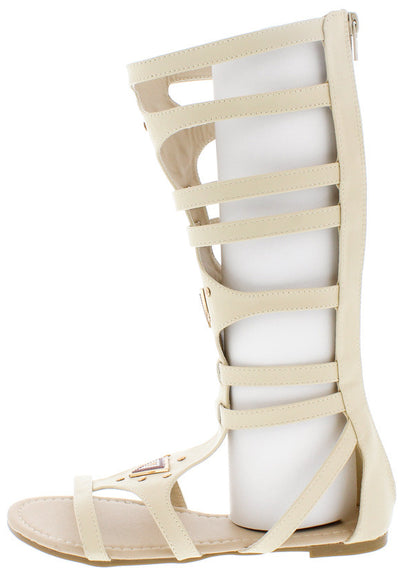 David3 Beige Tribal Detailing Gladiator Boot - Wholesale Fashion Shoes