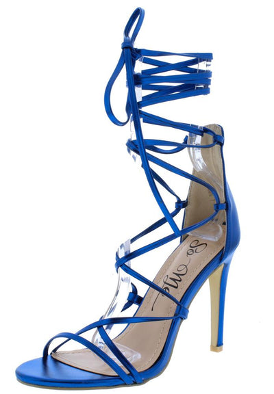 Dawn Blue Open Toe Ghillie Lace Up Ankle Wrap Heel - Wholesale Fashion Shoes