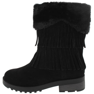 Daytona35 Black Faux Fur Trim Fringe Boot - Wholesale Fashion Shoes