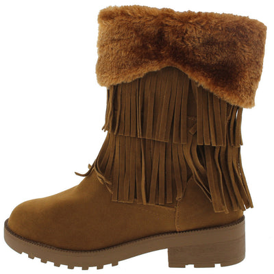 Daytona35 Tan Faux Fur Trim Fringe Boot - Wholesale Fashion Shoes