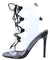 Dazed Black Lucite Open Toe Cut Out Lace Up Stiletto Heel