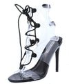 Dazed Black Lucite Open Toe Cut Out Lace Up Stiletto Heel - Wholesale Fashion Shoes