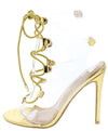 Dazed Gold Lucite Open Toe Cut Out Lace Up Stiletto Heel - Wholesale Fashion Shoes