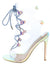 Dazed Hologram Lucite Open Toe Cut Out Lace Up Stiletto Heel