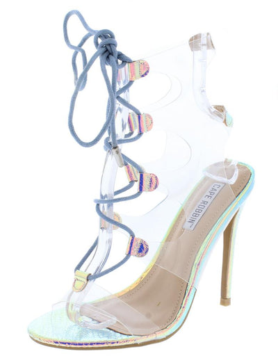Dazed Hologram Lucite Open Toe Cut Out Lace Up Stiletto Heel - Wholesale Fashion Shoes