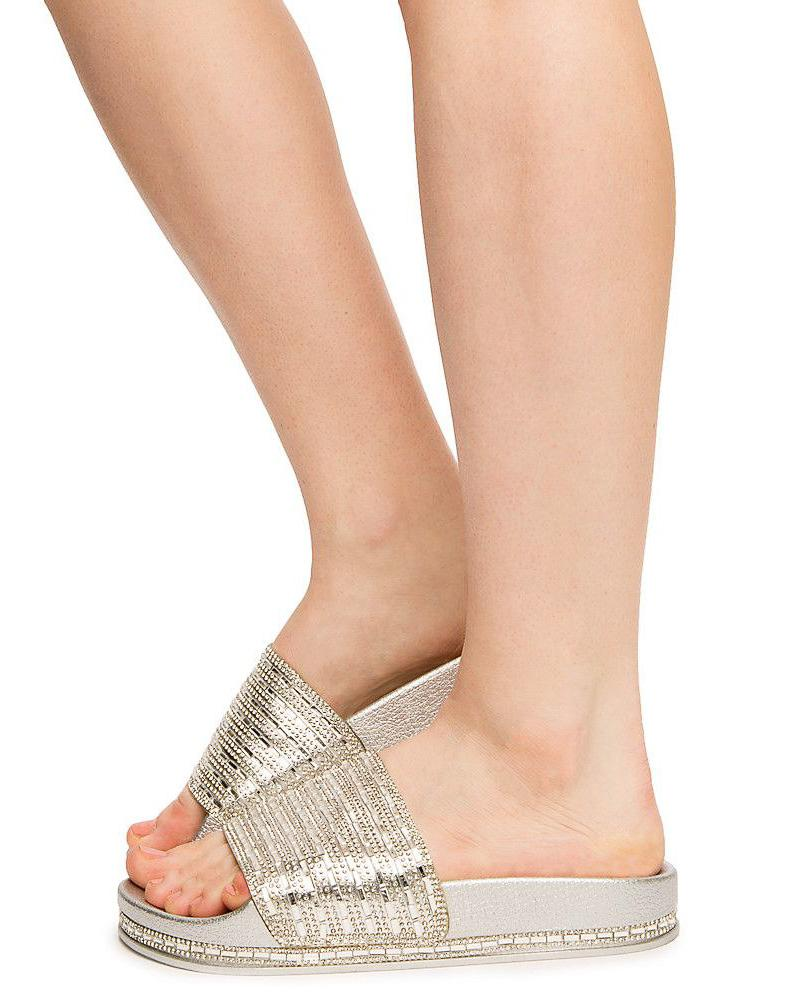 6e3d8842fed Dazzling02s Silver Rhinestone Embellished Mule Slide Sandal - Wholesale  Fashion Shoes