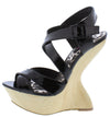 Dazzle Black Patent Cute Wedges - Wholesale Fashion Shoes