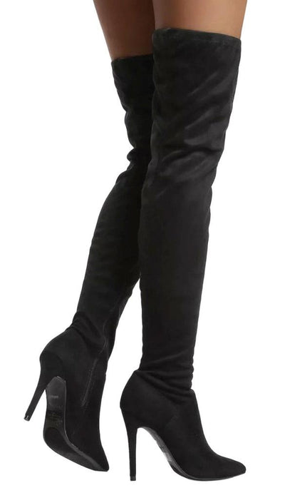 Dedicate05m Black Suede Thigh High Stiletto Boot - Wholesale Fashion Shoes
