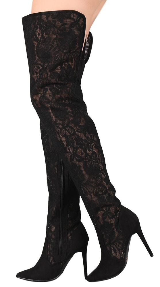 286b3d2b02f Dedicate13m Black Lace Fabric Thigh High Boots From  12.88 -  29.88 ...