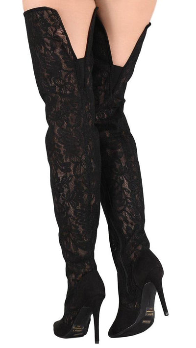 Dedicate13m Black Lace Fabric Thigh High Boot - Wholesale Fashion Shoes