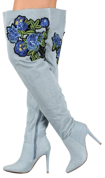Dedicate14m Blue Denim Floral Applique Thigh High Boot - Wholesale Fashion Shoes