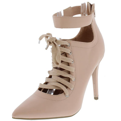 Dedicate27s Blush Pointed Toe Ankle Strap Lace Up Stiletto Heel - Wholesale Fashion Shoes