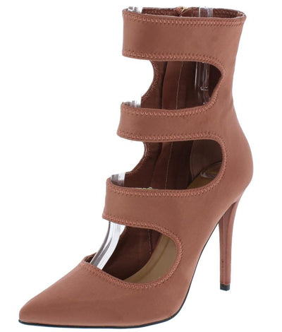 Dedicate71m Cinnamon Pointed Toe Cut Out Extended Ankle Heel - Wholesale Fashion Shoes