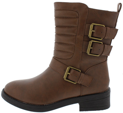 Delia37 Brown Quilted Ladder Stitching Multi Strap Ankle Boot - Wholesale Fashion Shoes