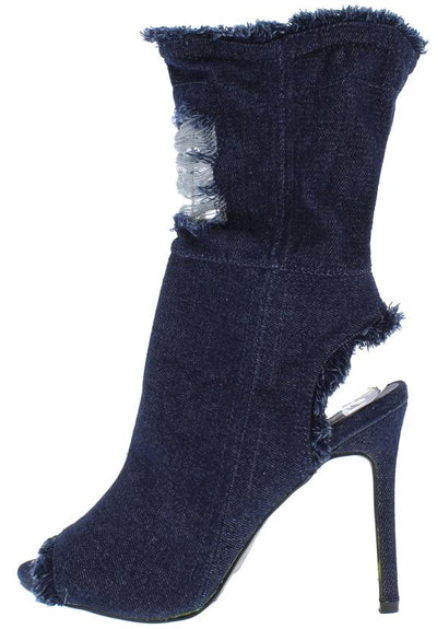 Delicate11 Dark Blue Distressed Frayed Mid Calf Heel - Wholesale Fashion Shoes
