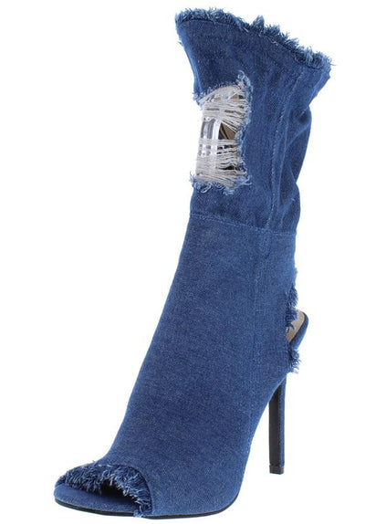 Delicate11 Light Blue Distressed Frayed Mid Calf Heel - Wholesale Fashion Shoes