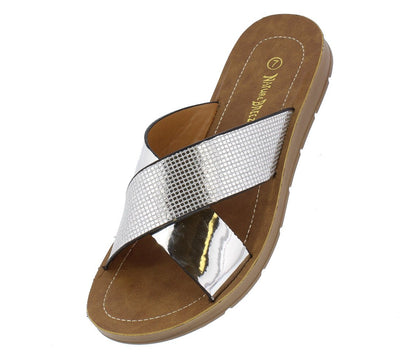 Delight04 Silver Open Toe Cross Strap Slide on Sandal - Wholesale Fashion Shoes