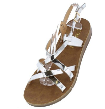 Delight06 Silver Patent Strappy Slingback Sandal - Wholesale Fashion Shoes