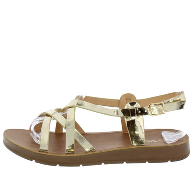 Delight06 Gold Patent Strappy Slingback Sandal - Wholesale Fashion Shoes