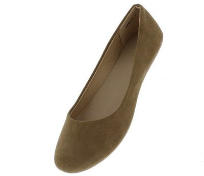 Demi01 Taupe Round Toe Ballet Flat - Wholesale Fashion Shoes