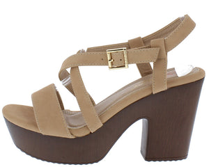 8091caa0f98 Denisa3 Nude Open Toe Cross Strap Chunky Wood Heel - Wholesale Fashion Shoes