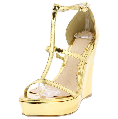Lucy67 Gold Metallic Platform Ankle Strap Wedge - Wholesale Fashion Shoes