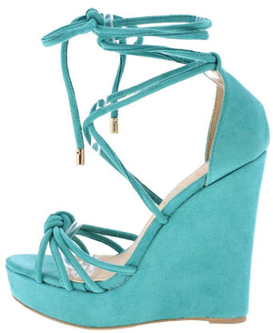 4eac1e588c Zoey288 Sea Green Strappy Knotted Platform Wedge - Wholesale Fashion Shoes