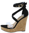 Jessica201 Black Lucite Open Toe Cross Strap Cork Wedge - Wholesale Fashion Shoes