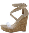 Jessica201 Nude Lucite Open Toe Cross Strap Cork Wedge - Wholesale Fashion Shoes