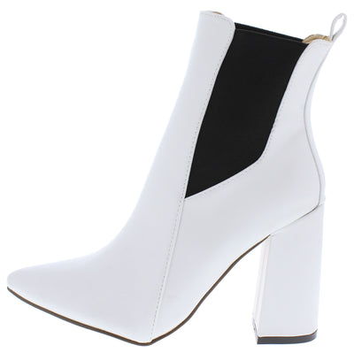 Destiny054 White Pointed Toe Pull On Ankle Boot - Wholesale Fashion Shoes