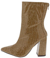Noemi129 Nude Crocodile Open Toe Angled Heel Boot - Wholesale Fashion Shoes