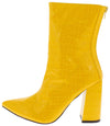 Noemi129 Yellow Crocodile Open Toe Angled Heel Boot - Wholesale Fashion Shoes