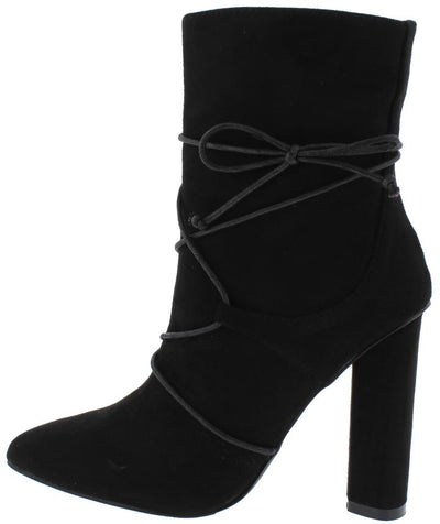 Desi Black Faux Lace Up Wrap Tie Block Heel Ankle Boot - Wholesale Fashion Shoes