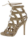 Desi Nude Nubuck Caged Ghillie Lace Up Stiletto Heel - Wholesale Fashion Shoes