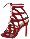 Desi Red Nubuck Caged Ghillie Lace Up Stiletto Heel - Wholesale Fashion Shoes