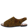 Desmond64x Camel Black Leopard Suede Open Toe Slingback Sandal - Wholesale Fashion Shoes
