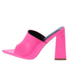 Devoted Pink Pointed Open Toe Mule Slide Block Heel - Wholesale Fashion Shoes
