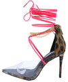 Devyn Leopard Lucite Pointed Toe Chain Ankle Wrap Heel - Wholesale Fashion Shoes