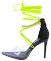 Devyn Black Lucite Pointed Toe Chain Ankle Wrap Heel - Wholesale Fashion Shoes