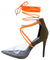 Devyn Khaki Lucite Pointed Toe Chain Ankle Wrap Heel