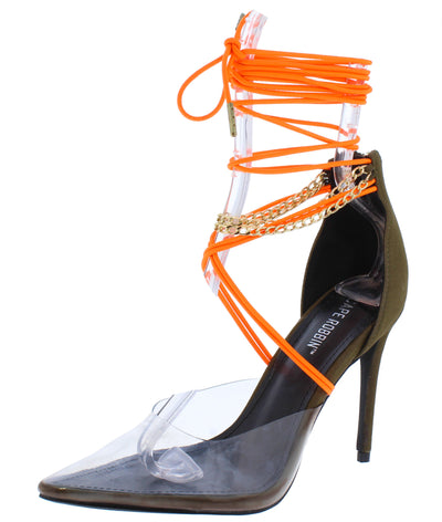 Devyn Khaki Lucite Pointed Toe Chain Ankle Wrap Heel - Wholesale Fashion Shoes