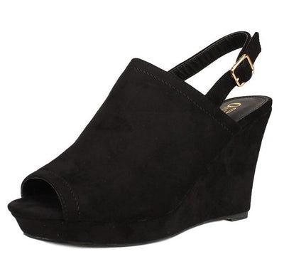 Dexter Black Suede Women's Wedge - Wholesale Fashion Shoes
