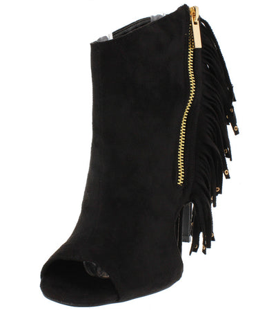 Diamond09 Black Faux Suede Fringe Ankle Boot - Wholesale Fashion Shoes