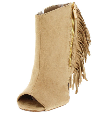 Diamond09 Taupe Faux Suede Fringe Ankle Boot - Wholesale Fashion Shoes